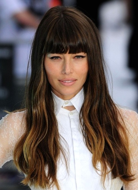 2014-Jessica-Biel-Hairstyles-Long-Hairstyle-with-Blunt-Bangs