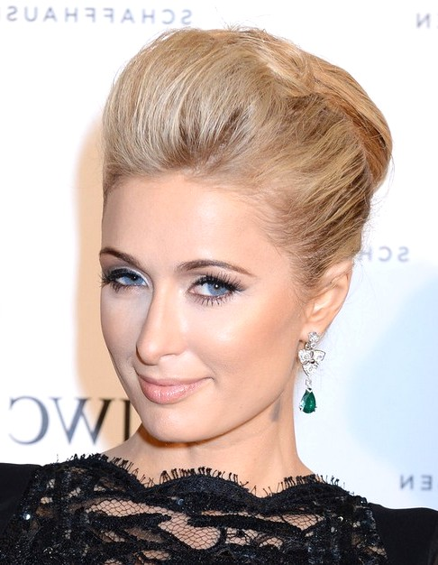 2014-Paris-Hilton-Medium-Hairstyles-Bobby-Pinned-Updo-Hairst