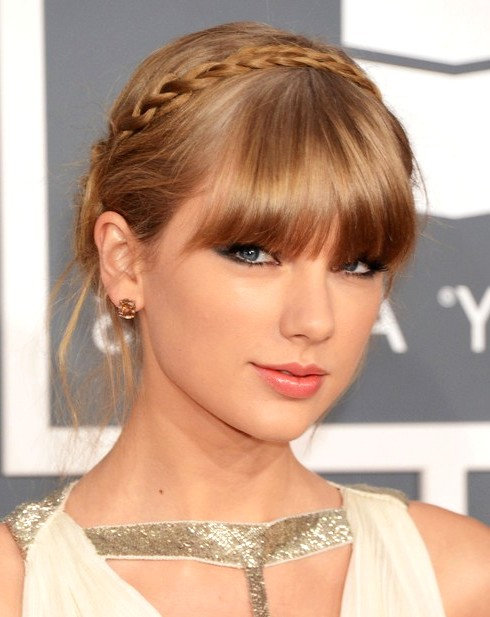 2014-Taylor-Swift-Hairstyles--Braided-Updo-with-Bangs